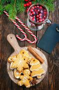 Christmas cookies with aroma spice on plate Stock Photos
