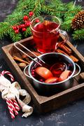 Christmas drink with aroma spice on a table Stock Photos