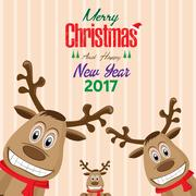 Reindeer of Merry Christmas and Happy New Year background. Stock Illustration