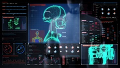 Robot touching screen, scanning 3D robot individually body in digital interface. Stock Footage