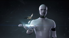 Robot cyborg open palm, Satellite, space communication technology. Stock Footage