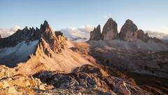Italy mountain Dolomites Alps - Tree cime di Lavaredo, Time lapse at sunset Stock Footage