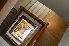 Square spiral staircase Stock Photos