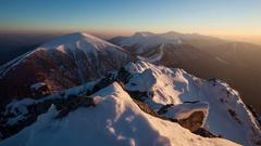 Winter mountain landscape sunset in peak Rozsutec, Time lapse Stock Footage