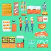 People Shopping For Groceries In Supermarket Surrounded By Shop Attributes Set Stock Illustration