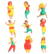 Happy Plus Size Women In Colorful Fashion Clothes Enjoying Life Set Of Smiling Stock Illustration