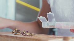 Slow motion. Garment accessories for jewelry. Fittings for bijouterie Stock Footage