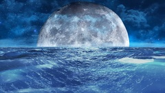 Realistic Stormy Sea at Night with Moon, Abstract Loopable Background Stock Footage