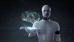 Robot open palm, Brain connect digital lines, grow artificial intelligence. Stock Footage