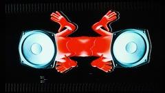 Alien speaker audio music raver man cartoon party Stock Footage