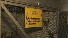 High voltage sign on a gate Stock Footage