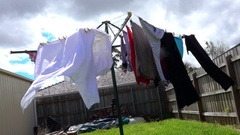 Wet Clothes Hang, Garden Day, Slow Motion Stock Footage