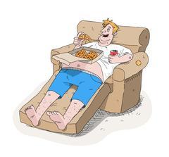Fat Guy Couch Potato Obesity Stock Illustration