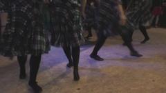 Group of girls perform professionally Irish folk dance Stock Footage