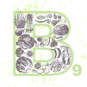Ink hand drawn fruits and veggies that contain vitamin B9 Stock Illustration
