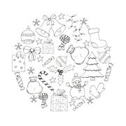 Vector Christmas and new year hand drawn icons set Stock Illustration