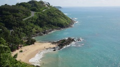 Yanui beach and Promthep cape in Phuket Stock Footage