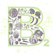 Ink hand drawn fruits and vegetables that contain vitamin B2 Stock Illustration