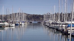 Boats in Sausalito Yacht Club water in Northern California Stock Footage