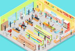 Supermarket Interior in Isometric Projection. 3D Stock Illustration