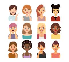 Woman emoji face vector icons Stock Illustration