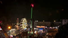 The lights of a Luna park in Udine, Italy Stock Footage