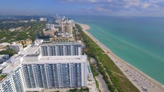 Aerial video of buildings on Miami Beach Stock Footage
