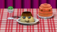 A flan character going to the center of the table Stock Footage
