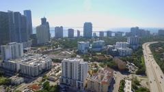 Aerial tour Brickell Miami Stock Footage