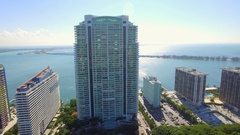 Aerial video of Brickell Bay condominiums and office buildings Stock Footage