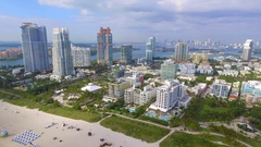 Aerial video beautiful day in Miami Beach Stock Footage