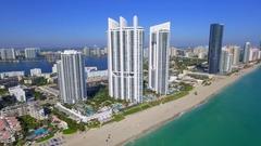 Aerial view Trump Towers sunny Isles Beach Florida 4k Stock Footage