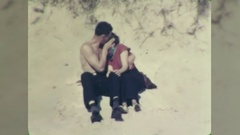 Young Couple Kissing Making Out on Beach 1940s Vintage Film Home Movie 10726 Stock Footage