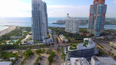Aerial video highrise condominiums Miami Beach Stock Footage