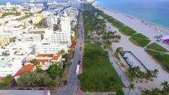 Historic hotels Ocean Drive aerial footage Stock Footage