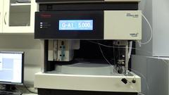 Hand scientific, laboratory, algae chlorella, science, spectrometer Stock Footage