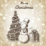 Christmas or New year hand drawn vector illustration. Snowman in tall hat, xmas Stock Illustration