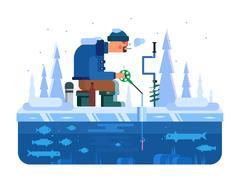 Man on winter fishing Stock Illustration
