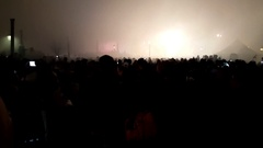 Silhouette unrecognizable crowd of people filming with mobile phone in a concert Stock Footage