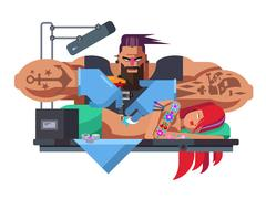 Tattoo master at work Stock Illustration