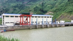 Hydro electricity power station dam in nothern Vietnam Stock Footage