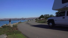 Recreational Vehicle near campground, Bodega Bay Stock Footage