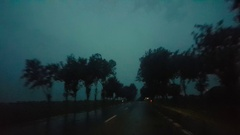 Pov driving a car at night in a rainy horrifying road with high speed Stock Footage