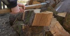 Man chopping firewood Stock Footage