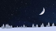 Snowy firs at snowfall winter night with fantastic big half moon 4K Stock Footage