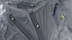 Coal mine in south of Poland. Destroyed land. View from above. Stock Footage