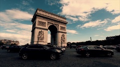 Triumphal arch. Paris. France. Static camera, fast video. Place Charles de Gaull Stock Footage