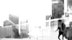 Multi-exposure. Businessmen crowd on the way to work in the morning. Concept for Stock Footage