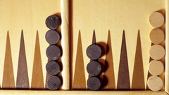 Backgammon board with dice, from above Stock Footage