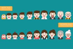 People generations avatars icons at different ages Stock Illustration